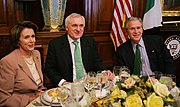 Pelosi (L) and President Bush (R) with Irish Taoiseach (Prime Minister) Bertie Ahern (C) in March 2007