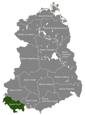 Carte de localisation du district de Suhl