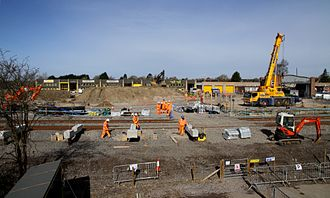 Bicester Village railway station - Work progressing on concrete supports for the station platforms, March 2015