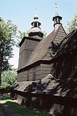 Bielsko-Biała, Polonia. Iglesia de madera en el distrito Mikuszowice Krakowskie