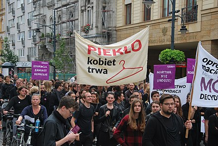 Access to abortion services varies considerably throughout the world, with the status of related rights being an active and major political topic in many nations. Black March in support of abortion rights, Lodz October 2nd 2016 33.jpg