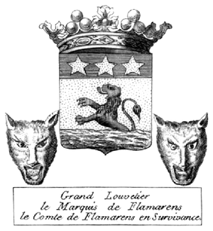 Wolfcatcher Royal - Coat of arms of The Marquis of Flamarens as Grand Wolfcatcher. The Grand Wolfcatcher placed his arms between two wolf heads as a symbol of the office.