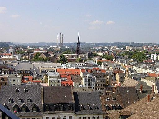Blick vom Rathausturm über Gera