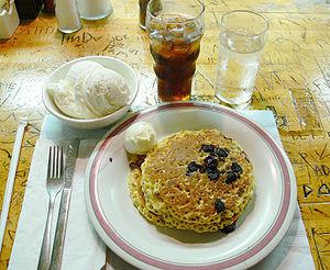 Blueberry pancakes + ice cream; Pj's Pancake H...