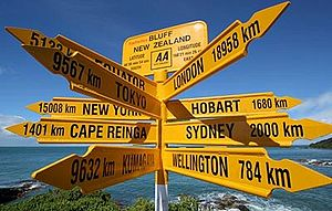 Bluff, New Zealand - Signpost at Stirling Point, Bluff