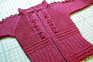 Welting (knitting) - Several types of welting are knit into the front of this jacket, including horizontal ribbing, bobbles and garter stitching.
