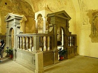 Basilica of Santa Cristina, Bolsena - Altar of the Miracle inside Grotto of Santa Cristina