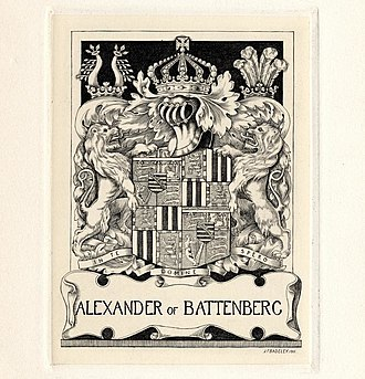 Alexander Mountbatten, 1st Marquess of Carisbrooke - Bookplate by Henry Badeley showing the coat of arms used by Alexander as member of Battenberg family (until 1917)