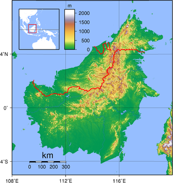 Relief (hypsometric) map of Borneo. Red lines ...