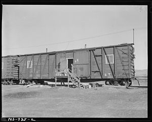Reliance, Wyoming - Box car made into home for miner (1946).