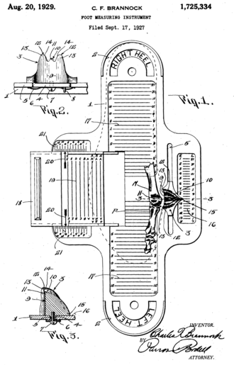 Shoe size - Drawing of a Brannock Device (from U.S. Patent 1,725,334)
