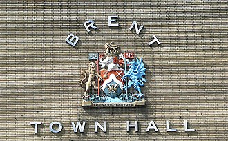 Coat of arms of the London Borough of Brent - Coat of arms of Brent in relief on the former Brent Town Hall