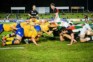 Brisbane City (rugby union) - City, wearing gold, playing the Rays in 2014.