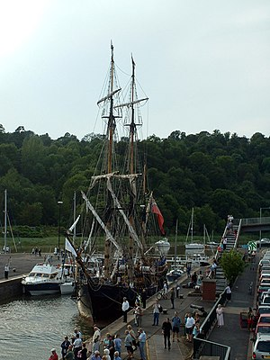 Bristol Harbour - A tall ship in the Cumberland lock, Hotwells, during the 2004 Harbour Festival.