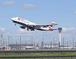 British Airways Boeing 747-400 (G-CIVH) departs London Heathrow 11Apr2015 arp