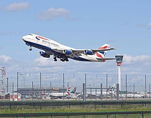 Civil aviation - A British Airways Boeing 747-400 departs London Heathrow Airport. This is an example of a commercial aviation service.