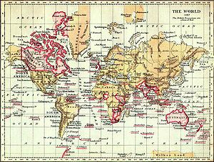 19th century - Map of the world from 1897. The British Empire (marked in pink) was the superpower of the 19th century.