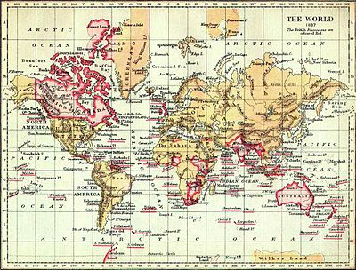 The British Empire in 1897, marked in the traditional colour for imperial British dominions on maps