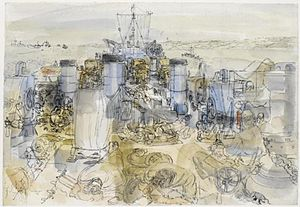 Anthony Gross - British Troops and Vehicles on the Deck of a US Landing Ship Tank (1944)