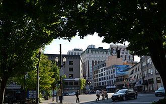 Broadway (Portland, Oregon) - From West Burnside Street, looking southwest down Broadway