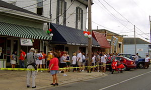 "Carrollton Avenue - Line for the post-Katrina reopening of the century-old ""Angelo Brocato"" ice cream shop on Carrollton Avenue in Mid-City, 2006."