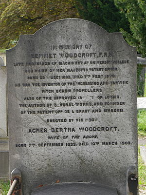 Bennet Woodcroft - Funerary monument, Brompton Cemetery monument