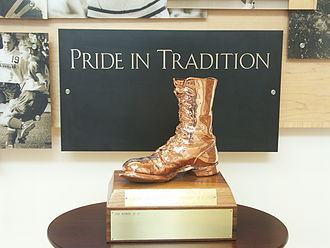 Border War (Colorado State–Wyoming rivalry) - Bronze Boot trophy at the University of Wyoming in 2007.