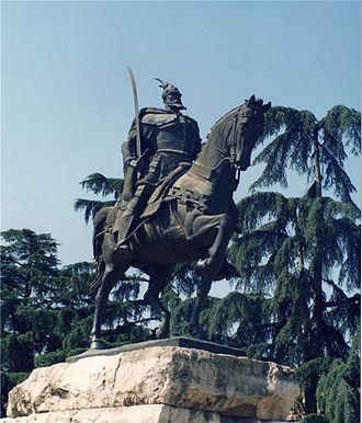 Skanderbeg in literature and art - Image: Brosen tirana skanderbeg