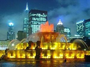 Parks in Chicago - Buckingham Fountain, donated to Chicago in 1927 by Kate Buckingham