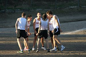Buckley School (California) - Students huddling prior to racing a 5K run at Pearce College in 2011