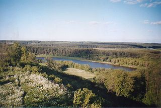 The river Neris from Budeliai hillfort. Photo:Vilniskis at lt.wikipedia