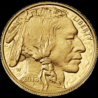 American Buffalo (coin) - Image: Buffalo $50 Obverse