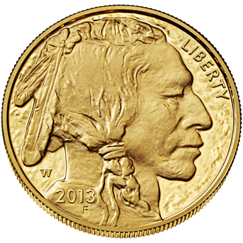 obverse side of the $50 American Gold Buffalo coin
