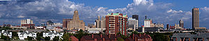 A panoramic skyline view of Buffalo, NY from t...