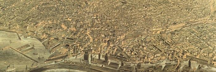 Veduta aerea del centro di Buffalo e del suo lungomare nel 1880