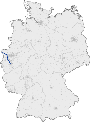 Bundesautobahn 57 - Image: Bundesautobahn 57 map