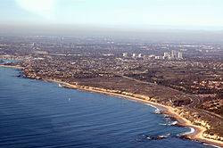 Aerial view of the coast of Newport Beach in May 2005.