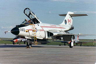 "McDonnell F-101 Voodoo - CF-101 Voodoo 101060 from 409 ""Nighthawk"" Squadron, CFB Comox on the ramp at CFB Moose Jaw in spring 1982."