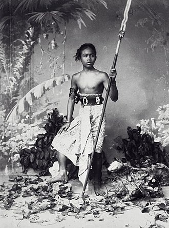 "Mongol invasion of Java - 19th century studio portrait of a native Javanese warrior. Javanese ""peasant army"" consist of lightly equipped troops like this."