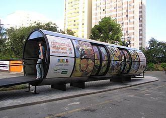 Rede Integrada de Transporte - A bus stop in the city.