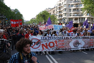 "Transatlantic Trade and Investment Partnership - ""Stop TTIP"" protests in Barcelona, Spain, April 18, 2015"
