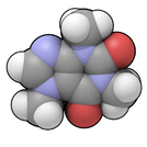 space-filling model of the caffeine molecule