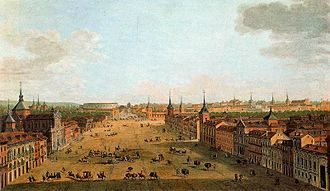 Timeline of Madrid - View of Calle de Alcalá in mid-18th century by Italian painter Antonio Joli