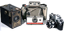 Various Cameras: An Agfa Brownie, Polariod Land Camera, and Yashica 35mm SLR