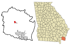 Camden County Georgia Incorporated and Unincorporated areas Woodbine Highlighted.svg