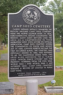 Photo of Camp Shed Cemetery, Cooper, TX black plaque