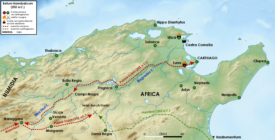Final act of the Second Punic War with the battle of Zama (202 BC) Campagna africana di Scipione 202 aC.png