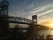 A photograph of Cape Fear Memorial Bridge in Wilmington, North Carolina