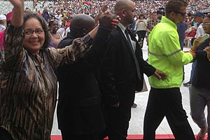Patricia de Lille - De Lille at the Nelson Mandela memorial concert at the Cape Town Stadium in 2013