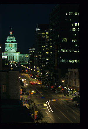 Texas State Capitol at night in Austin